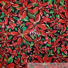 BonEful Fabric Cotton Quilt Black Red Green Leaf Xmas Flower Gold Metallic SCRAP