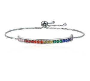 SILVER PLATED RAINBOW MULTI COLOUR BRACLET SMALL FITTING LGBT PRIDE LOVE GIFT