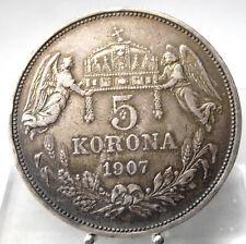 5 Korona 1907 KB, Kremnitz, Franz Joseph, Silber .900