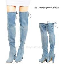 BOHO Haute Stretch Faux Silk Padded Denim Block Heel Over Knee Thigh High Boots