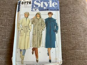 sewing pattern ladies coat 3 styles size 10/12 uncut style 3776