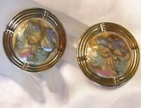 VINTAGE LARGE ROUND GOLD TONE MULTI COLOR PASTEL ENAMEL SWIRL PIERCED EARRINGS