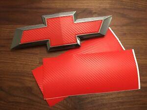 2PCS Red Carbon Fiber Universal Chevy Bowtie Vinyl Sheets Emblem Overlay