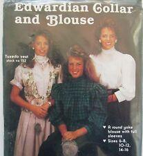 Edwardian Collar & Blouse Costume Sewing Pattern Round Yoke Full Sleeves 6-16