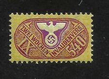 Nazi Germany Third 3rd Reich 540 value revenue stamp Eagle Swastika WW2 MNH