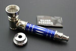 ORIGINAL BLUE METAL Smoking Pipe w/Lid Tobacco Pipe Metal pipe ALL METAL Pipes
