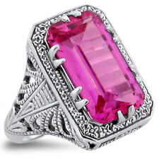 7 Ct LAB PINK SAPPHIRE ANTIQUE DECO STYLE .925 STERLING SILVER RING Sz 6,   #330
