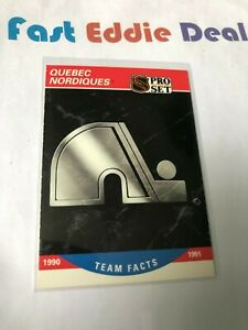 PRO SET NHL HOCKEY 1990 QUEBEC NORDIQUES TEAM FACTS CARD 581 EXCELLENT
