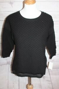 Troupe Women's Scalloped Blouse Black High Low Shear Sleeve Stretch Top Medium