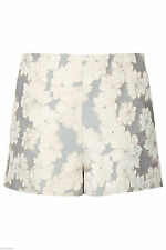 NEW NWOT TOPSHOP METALLIC FLORAL JACQUARD HIGH WAISTED SHORTS UK 10 US 6 EU 38
