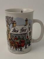 Potpourri Press Carriage Ride 1991 Christmas Mug  8 Oz