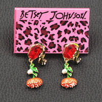 Women's Fashion Enamel Crystal Flower Earbob Betsey Johnson Dangle Earrings