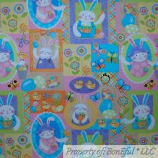 BonEful FABRIC Cotton Quilt Rainbow Egg Easter Bunny Flower Patchwork Baby SCRAP