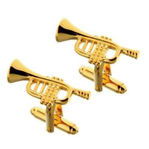 TRUMPET CUFFLINKS Musical Instrument GIFT BAG Jazz Orchestra Marching Band Gold