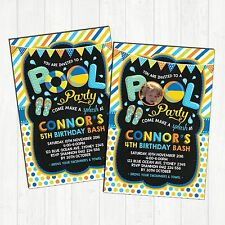 Boys Pool Party Invitation Birthday Party Invite Summer Beach Swimming Supplies