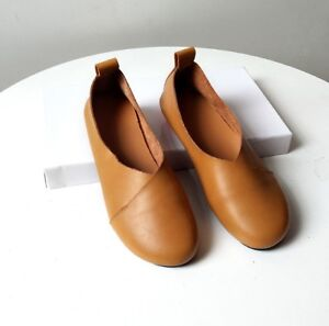 Women Large Size Pure Color Slip Casual  On Vintage Flat Loafers Leather Soft