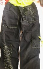 Zumba Dance Performance Athletic Cargo Crop Pants Black Green Size S