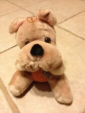 """Bulldog Stuffy-6"""" Tan-Sitting-Checkered Tie-Ace(hang or sit)used"""