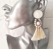 Gorgeous 9cm long white thread tassel & bead drop earrings - NEW - UK seller