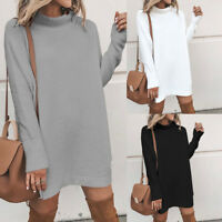 New Women Autumn Winter Long Sleeve Turtleneck Knitted Loose Sweater Short Dress