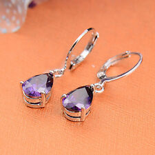 Women's Fashion 925 Silver Jewelry Vintage Amethyst Drop Dangle Earrings Elegant