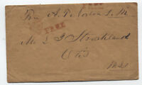 1852 stampless postmaster free frank North Blandford MA with letter [3157]
