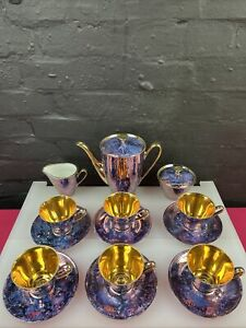Walbrzych Made In Poland Gold & Purple Coffee Tea Set Marble Hand Painted