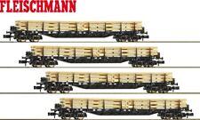 Fleischmann N 931886-2 Rungenwagen-Set mit Holzbeladung der DB 4-teilig - NEU