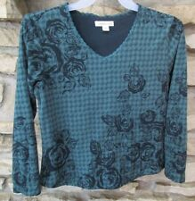 Coldwater Creek Womens Fleece Top V-Neck Size Small (6-8) Polyester Green Floral