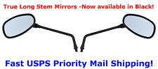 Black Long Stem Motorcycle Mirrors -Honda, Kawasaki, Suzuki, Victory