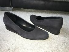 Arche black greyish leather suede small wedge shoes, Eur size 39,Made in France