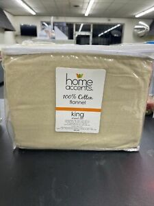 Home Accents 100% Cotton Flannel King Sheet Set TAN Brand New