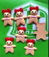 10pcs Gingerbread WoMan Resin Flatback Cabochon ScrapbookIng for phone/1@