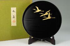 NEW KYOTO ZOHIKO URUSHI Wood Round Tray Gold Cranes Black w/box Free Ship 608k16