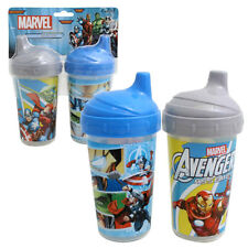 2pk Spill Proof MARVEL AVENGERS Sippy Cups Toddler Kids Boys BPA FREE BLUE GRAY