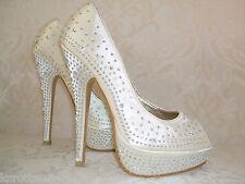 Talla 3 4 5 6 7 8 Marfil O Champagne Diamante Boda nupcial ocasión Zapatos
