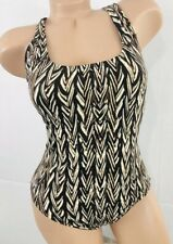 Speedo Tan + black abstract racerback athletic 1 pc Swimsuit 34 10