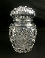 "🔷 ABP American Brilliant Cut Glass Fan Star 6"" Jar w/ Lid"