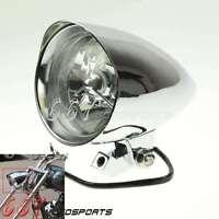 "Motorcycle Billet Aluminum 4.5"" Tri-Bar Visor Bullet Headlight Lamp For Harley"