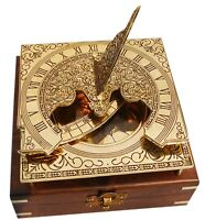 Vintage Maritime Brass Sundial Compass Nautical & with Wooden Box Nautical Decor