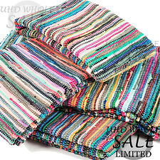Handmade Fair Trade Indian Chindi Rag Rugs Hand Woven Mat Large Small Striped