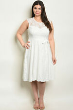 Womens Plus Size White Lace Sleeveless Dress 1X New