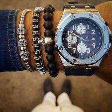 Men Women New Style Anil Arjandas Bracelet 18k White Gold Filled Pave Macrame