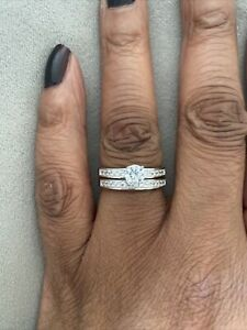 Sterling Silver cz Bridal Ring Set Size N