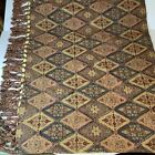 Pier 1 Beaded Tapestry Tablecloth Cover w/ Fringe Lined w/ Gold Satin Throw