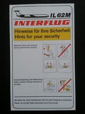 Safety Card Interflug Ilyushin il-62 RDT East Germany GDR Soviet Airplane * RARE *