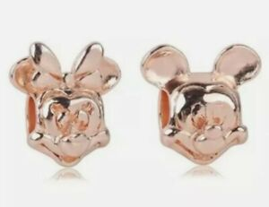 Lot of 2 Rose Gold S925 Pandora Mickey & Minnie Mouse European Spacer Charm Bead
