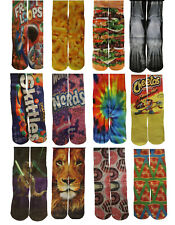 Fun Crazy Mid Crew Socks Mens Womens Adult Kid Youth Fits Sizes 5-12  80 Designs