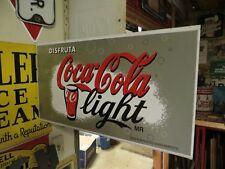 original Disfruta Coca-Cola light MR ,1971 DOUBLE SIDED FLANGE SODA POP SIGN