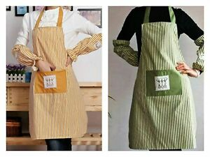 New Striped Apron 100% Cotton Catering with Bib Pockets Cooking BBQ Chef